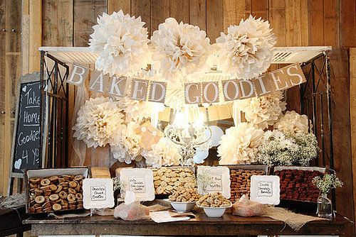 The newest sweet treat buffet to emerge into wedding receptions is the cookie buffet. Near the same idea as the candy buffet