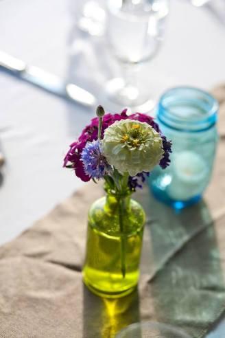 Vintage glassware for seasonal flowers