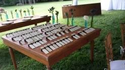 Jellies as the place card on a Farm Table