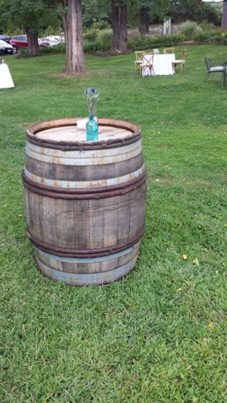 Wine Barrel with Vintage Glassware