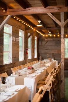 Banquet tables at Roxbury Barn