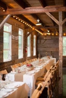 Banquet tables at Roxbury Barn